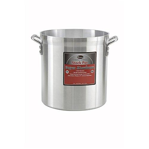 Winco AXHH-32 32-Quart 13 x 14 Super Extra-Heavy 3003 Aluminum Professional Stock Pot with Reinforced Rim Commercial Grade Sauce Pot