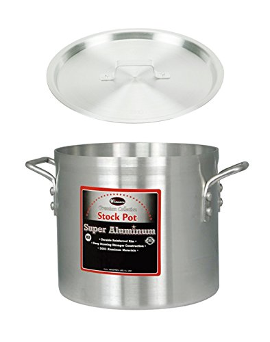 Winco AXS-20 20-Quart 12 x 10-12 Super Extra-Heavy Aluminum Professional Stock Pot with Cover Commercial Grade Sauce Pot with Lid