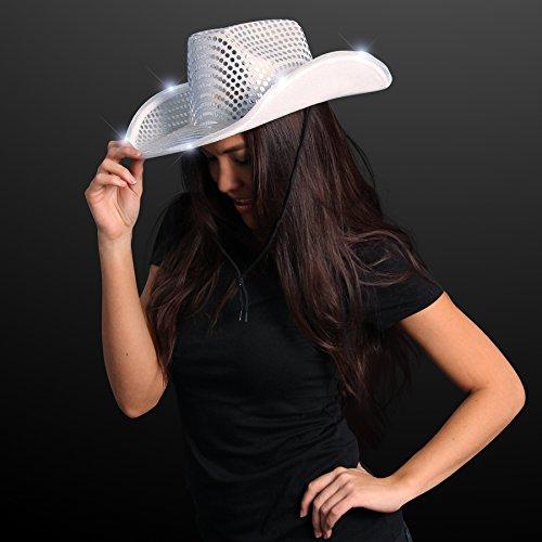 FlashingBlinkyLights Silver Sequin Light Up LED Cowboy Hat