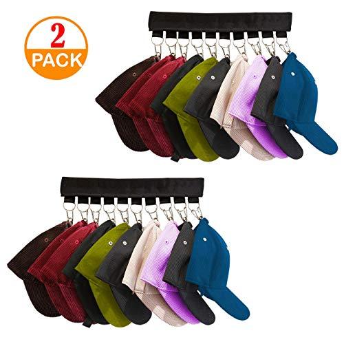 Genleas 2 Pack 10 Baseball Cap Holder Hat Organizer Cap Organizer Hanger for Closet - Change Your Cloth Hanger To Cap Organizer Hanger - Keep Your Hats Cleaner Than a Hat Rack