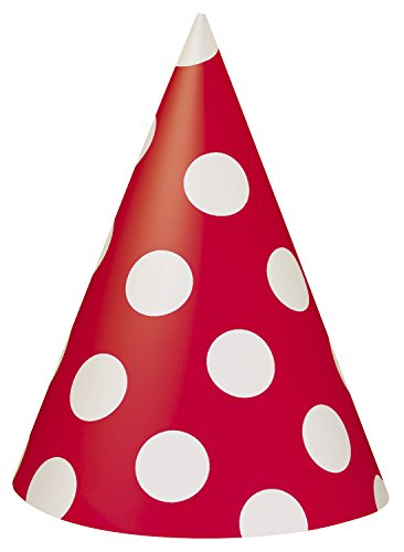 Red Polka Dot Party Hats 8ct