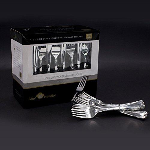 Heavy Duty Plastic Forks - Plastic Silverware Cutlery 200 Count