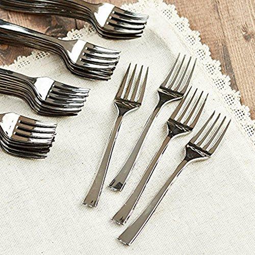 Polished Silver Plastic Forks 24 - 45 - Mini Tasting Forks - Tiny Elegant hors doeuvres Utensils