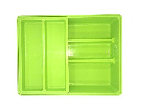 Cutlery Utensil Tray 2-Tier Utility Drawer Kitchen Storage Organizer Green