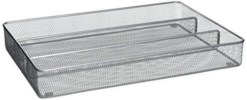 Honey-Can-Do KCH-02154 Steel Mesh 5-Compartment Cutlery Utensil Organizer Silver