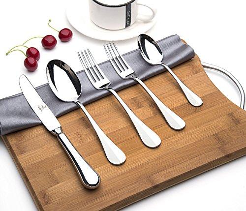 OTW PAVILION Thick Polished 1810 Stainless Steel Flatware Set5 Piece Utensils SetHeavy Duty Cutlery SetTableware Set for 1