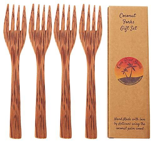Coconut Wooden Reusable Forks  Set of 4 Handmade Wood Forks  Coconut Bowls Utensils  Eco Friendly  Eating Forks Vegan Utensils