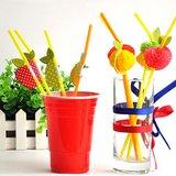 Ioffersuper 50 Paper Umbrella Plastic Drinking Straw Beach Party Fruit Straw Supply
