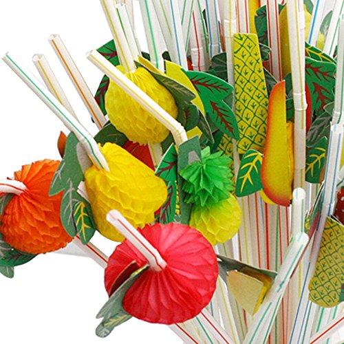 Yalulu 100Pcs Assorted 3D Fruit Cocktail Drinking Straw For PartyBirthdaysLuau Hawaiian Theme Decorative Stripe Pattern
