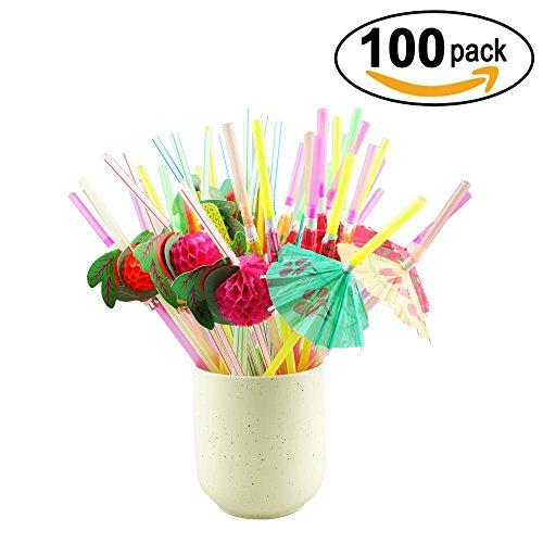 Zapour 100 Pieces Multicolored Drinking Straws Straw Umbrella Luau Straws and Fruit Straws