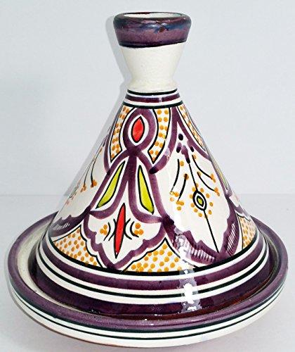 Medium Moroccan Multi color Serving Tagine Pot Ceramic Cookware Dish Clay