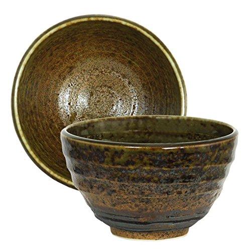 1 Piece of Japanese 5 Diameter Ceramic Rice Soup Bowl Green Brown Rust Minokodo Pattern Design