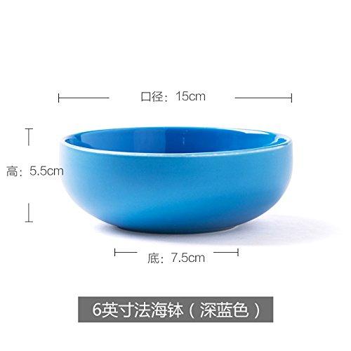 CLG-FLY Creative Korean ceramics tableware bowl of soup bowl Steamed Rice bowl dish bowl dessert bowl home6 inches deep blue