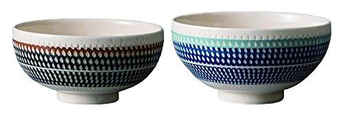 Japanese Mino-yaki Ceramic Rice Bowls Set Japanese Aizome Pattern Set of 2 Bowls with a Japanese Kiri Paulownia Wood Box KANNA