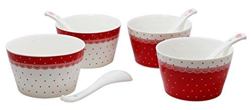 JustNile 8 Pcs Ceramic RiceSoup Bowl Set - 45 Red Heart Design WSpoons
