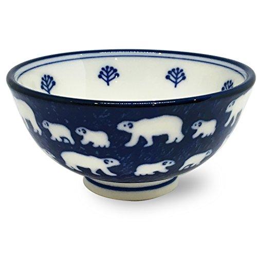 Mino ware Japanese Ceramics Rice Bowl White Bear Navy made in Japan