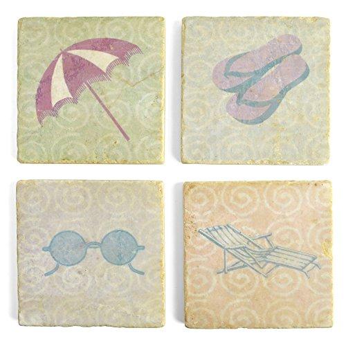 Studio Vertu Beach Props Marble Coasters Set of 4