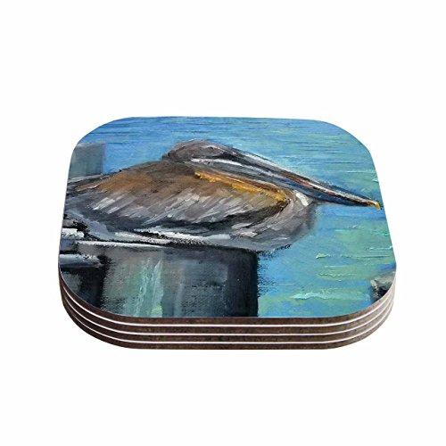 KESS InHouse Carol Schiff Hunkered Down Blue Gray Coasters Set of 4 4 x 4 Multicolor