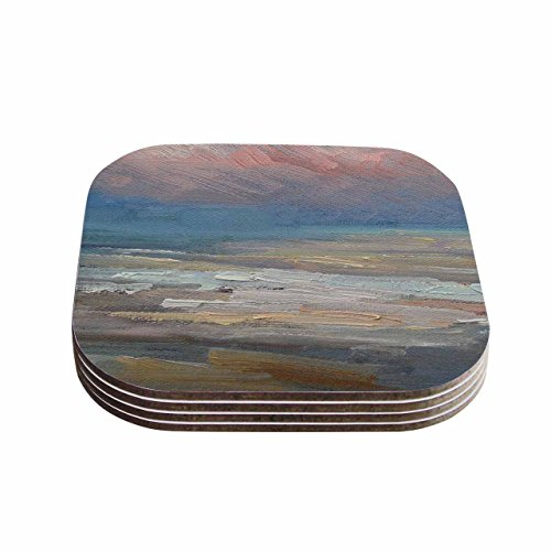 KESS InHouse Carol Schiff Pink Clouds Blue Gray Coasters Set of 4 4 x 4 Multicolor
