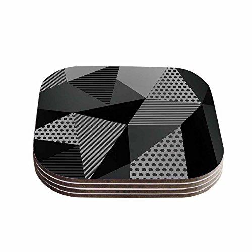 KESS InHouse Louise Machado Gray Pallete Black Gray Coasters Set of 4 4 x 4 Multicolor