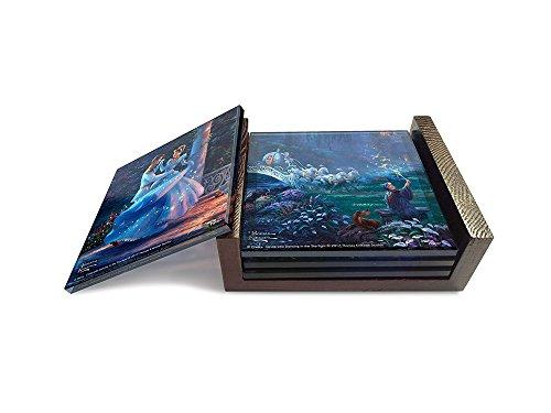 Disneys Cinderella StarFire Prints Glass Coaster Set 4 Piece with holder - Thomas Kinkade Artwork