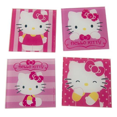 Vandor 18085 Hello Kitty 4 pc Glass Coaster Set Pink White and Yellow