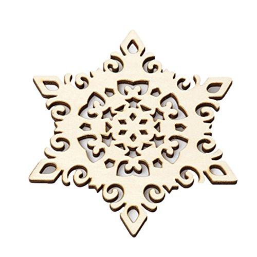 Powerfulline Wooden Carved Snowflake Xmas Mug Coasters Chic Holder Coffee Tea Drinks Cup Mat