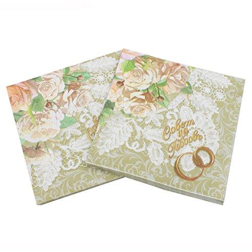 Smartcoco 20pcs Wedding Party Paper Napkins Color Printing Tissue Table Decoration 13 x 13