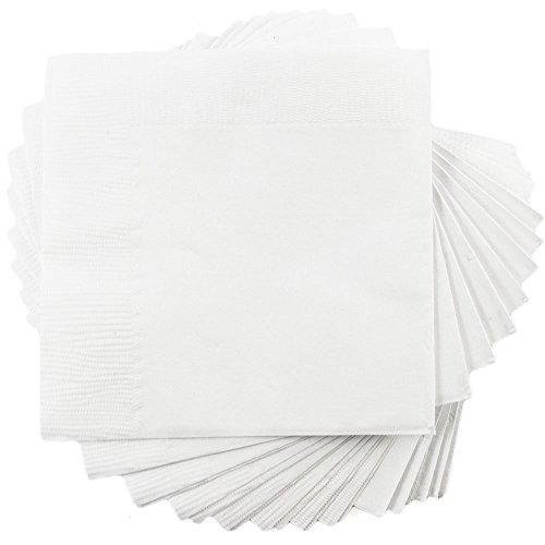 JAM Paper Small Beverage Napkins - 5 x 5 - White - 50Pack