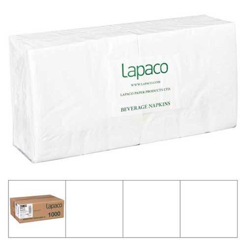 Lapaco 2 Ply White Beverage Napkin 200 count per pack -- 5 per case