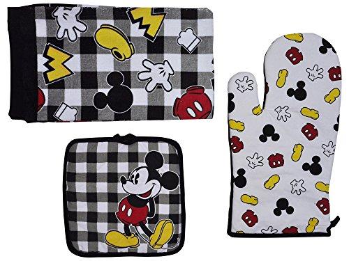 Disney Oven Mitt Pot Holder Dish Towel 3 pc Kitchen Set Mickey Black White