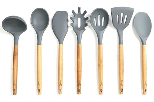 Lively Home Goods 7-Piece Premium Silicone Kitchen Cooking Utensils Set with Bamboo Handle for Nonstick Cookware Grey