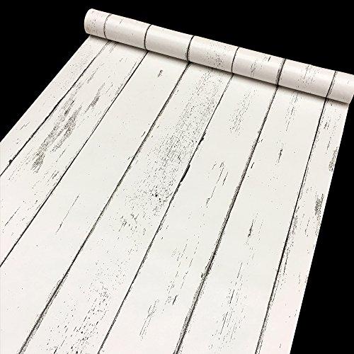 SimpleLife4U White Wood Grain Shelf Liner Nordic Style Kitchen Cabinet Door Nightstand Sticker Peel Stick 177 Inch By 13 Feet