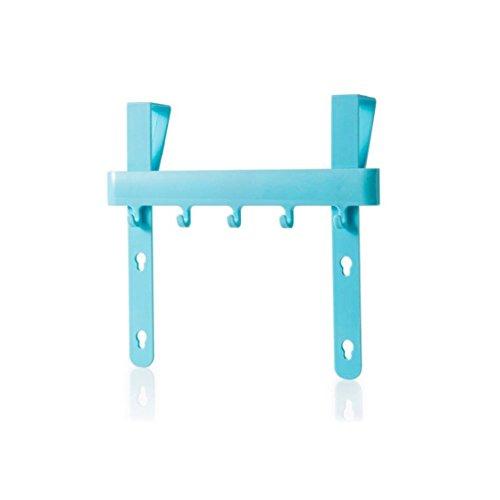 potato001 Kitchen Cabinet Door Hanging Rack Holder Hook Storage Tool for Towel Apron Blue