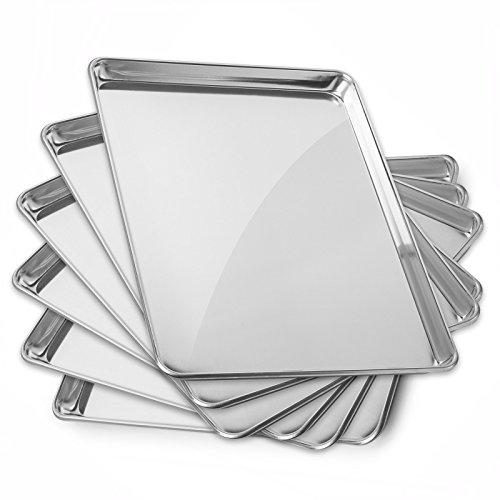 GRIDMANN 15 x 21 Commercial Grade Aluminum Cookie Sheet Baking Tray Pan Three Quarter Sheet - 6 Pans