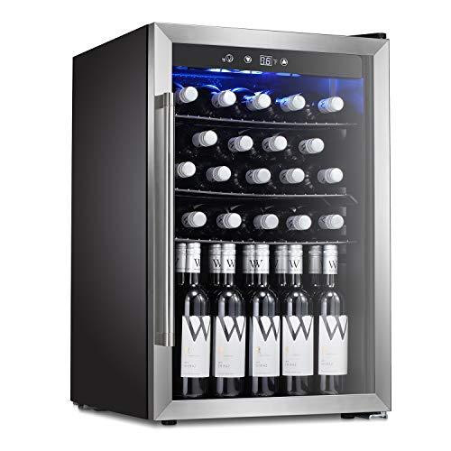 Antarctic Star Wine Cooler Beverage Refrigerator 36 Bottles Beer Soda Cellar Fridge Freestanding Chiller Stainless Steel Quiet Counter Top Operation Compressor Glass DoorDigital Memory OfficeDorm