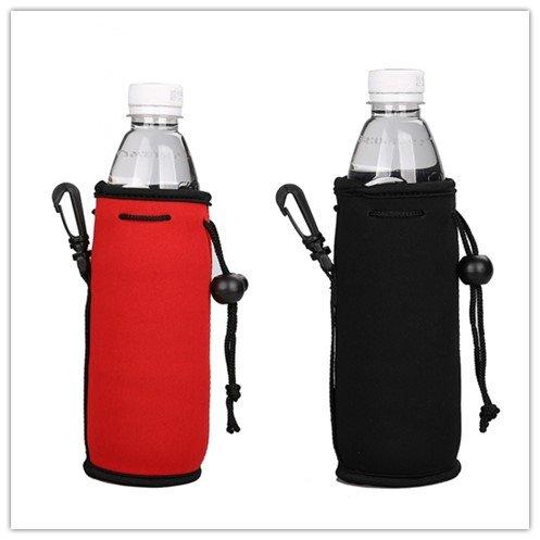 E - Living 500ML 169 OZ Collapsible Neoprene Water Bottle Drawstring CoolerCoolieCoverInsulatorHolderHuggieSleeve - 2 Pack 13 Colors Red Black