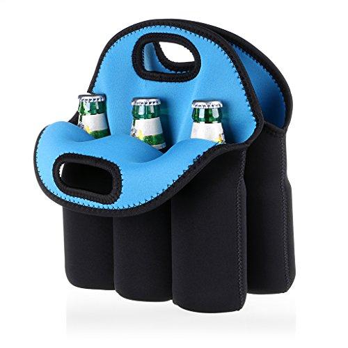Hipiwe 6 Pack Neoprene Beer Bottle Sleeve Carrier Insulated Beer Cooler Holder Beer Can Tote Bag Keeps Drinks Cold for MilkBaby BottleBeverageBeer Cooler Bag