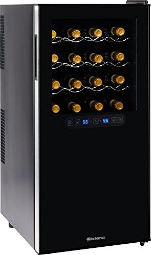 Wine Enthusiast Silent 32 Bottle Wine Refrigerator - Freestanding Touchscreen Dual Zone Wine Cooler Black w Chrome