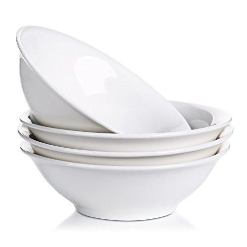 Lifver 42-Oz Porcelain SoupNoodleCereal BowlElegant WhiteSet of 4 Serving Bowls