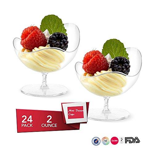 Mini Dessert Cups 24 Pcsset Disposable Footed Glass 2 oz Dessert Dishes Bowls Clear Plastic Appetizer Bowls