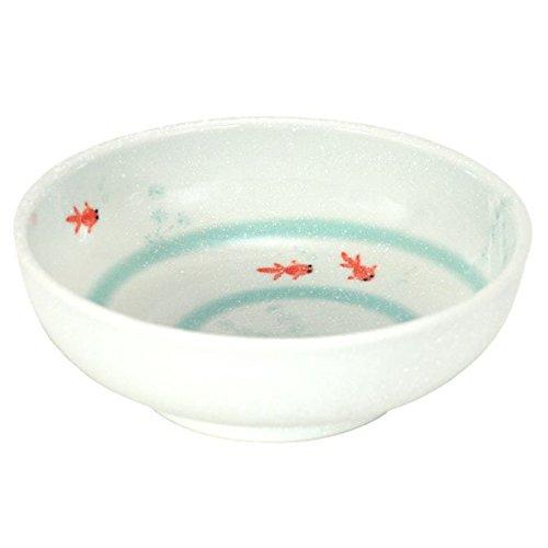 Japanese 775 Diameter Rice Soup Noodle Bowl Menbachi Kinyo Goldfish Design