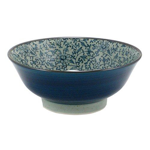 Japanese 825 Blue Floral Karakusa Ceramic Ramen Noodle Udon Rice Bowl
