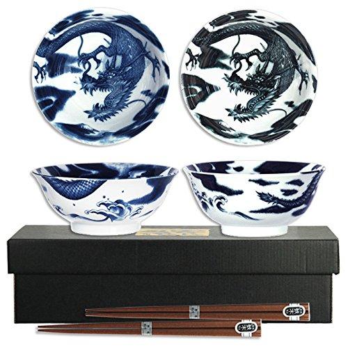 Set of 2 Japanese 6D Dragon Soup Noodle Bowl wChopstick Porcelain Made Japan