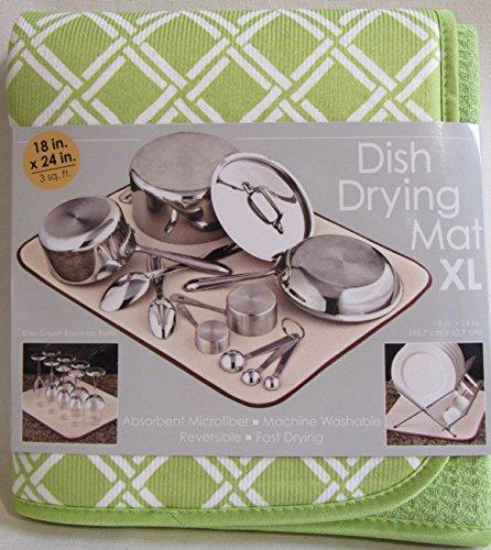 S&T Fun Print Dish Dry Mats Kiwi Green Bamboo Trellis - 18x24