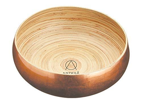 Artesà Large Wooden Fruit BowlServing Bowl 26 cm 10 - Copper Finish
