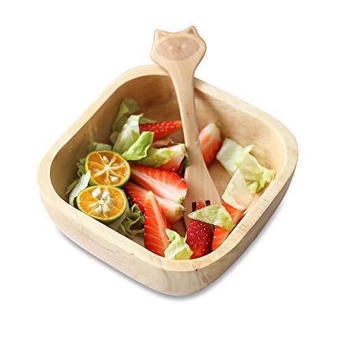 Best Wooden Fruit Bowl 7 inch Toddler Square Salad Serving Plate Kids Dessert Platter