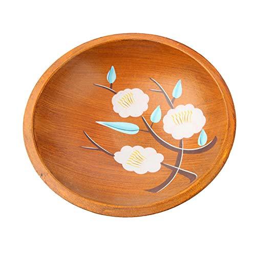 Wooden Fruit Bowls Creative Wooden Rustic Fruit Bowl Pastoral Style Wooden Fruit Plate Handmade Fruit Dish Bowl Home Decoration Salad Plate Rustic Style Fruit Tray Wooden Serving Bowls