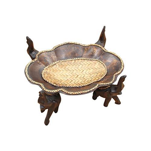 YYi-kuG Hand Carved Elephants Wooden Fruit Dish Carved Fruit Bowl Home Living Room Wooden Fruit Bowlbrown Size  22X15X5CM
