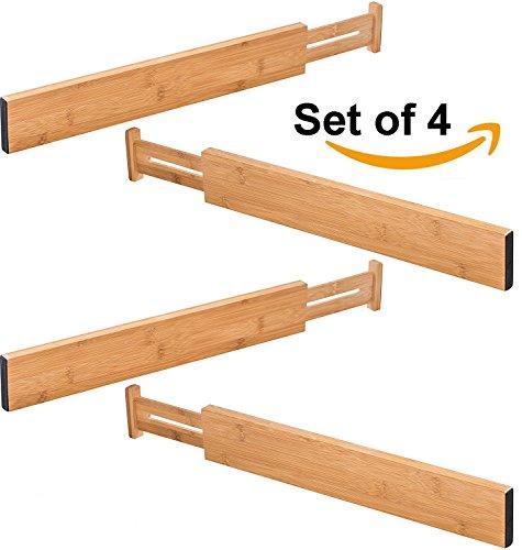 Royal Casa 100 Natural Bamboo Adjustable Standard Size Kitchen Drawer Dividers 176 - 22